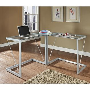 Silver Metal Gl Cable Frame Corner Computer Desk At Sears