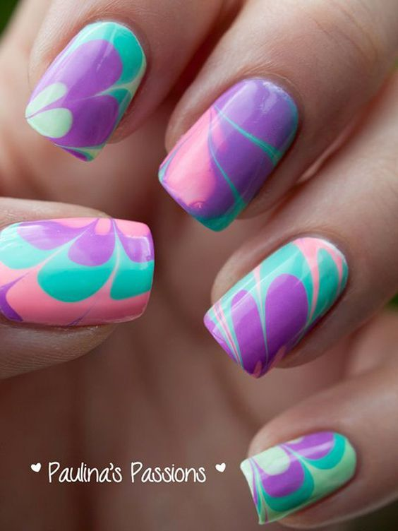 Enjoy Some Of The Best Water Marble Nail Art Creations And Unlock