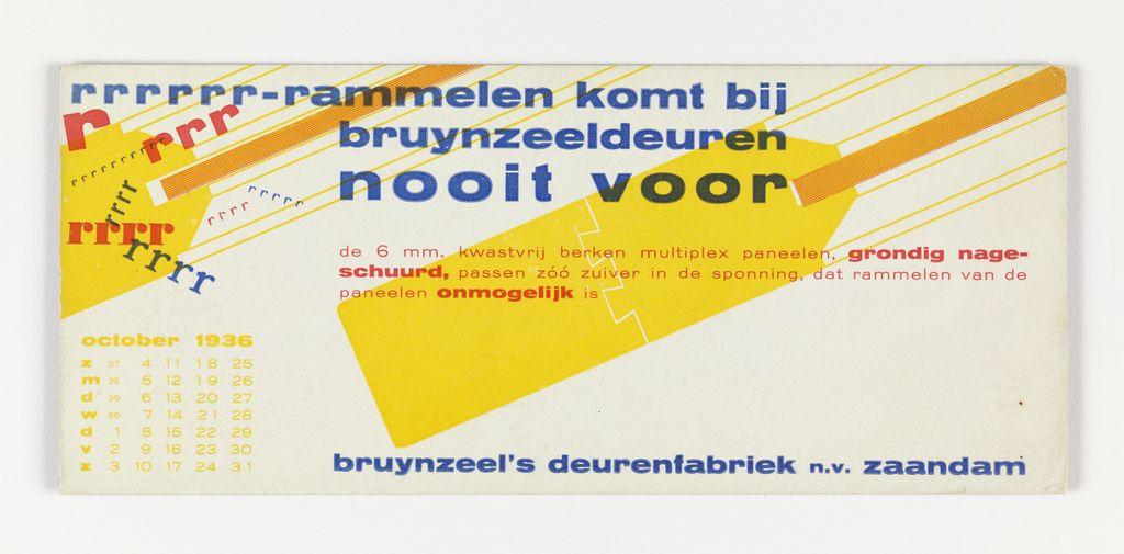 Blotter, rrrrrr-rammelen komt bij bruynzeeldeuren nooit voor (Bruynzeel Doors Never Rattle), 1936