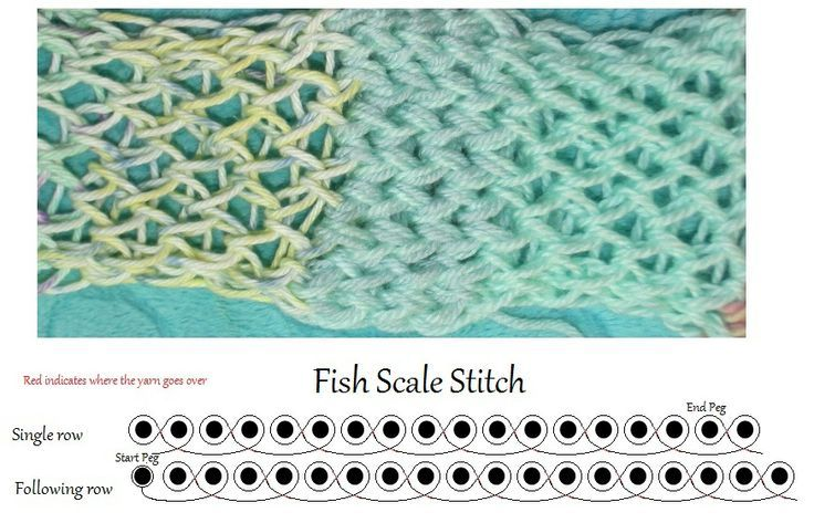 How to for the loom knitting Fish Scale stitch | Loom Knitting ...