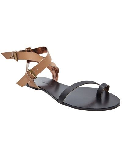365123e981ec16 Toe loop ankle strap sandal in black and tan from Twelfth Street by Cynthia  Vincent.