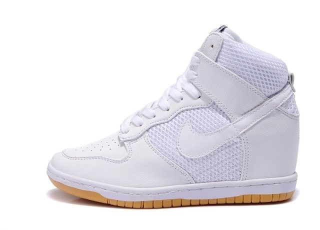 Nike Dunk LIB NRG Sky High Wedge Shoes All White Womens White Sneakers,  Black And