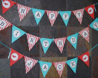 Airplane Birthday Banner - PRINTABLE Happy Birthday Banner - Red and Aqua - via Etsy