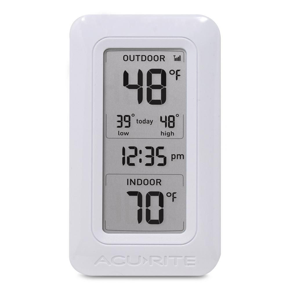 Acurite Wireless Digital Weather Thermometer 00826hd The Home Depot Outdoor Thermometer Thermometer Wireless Thermometer
