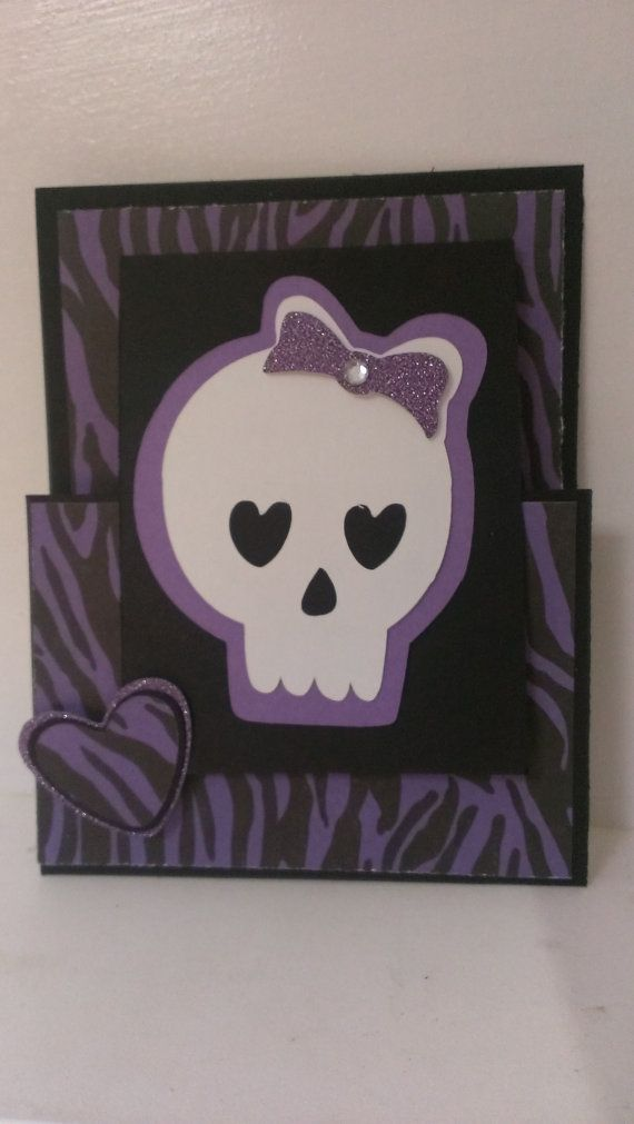 Card Making Ideas With Cricut Part - 31: Hand Made Skull Card Using Rock Princess Cricut Cartridge.