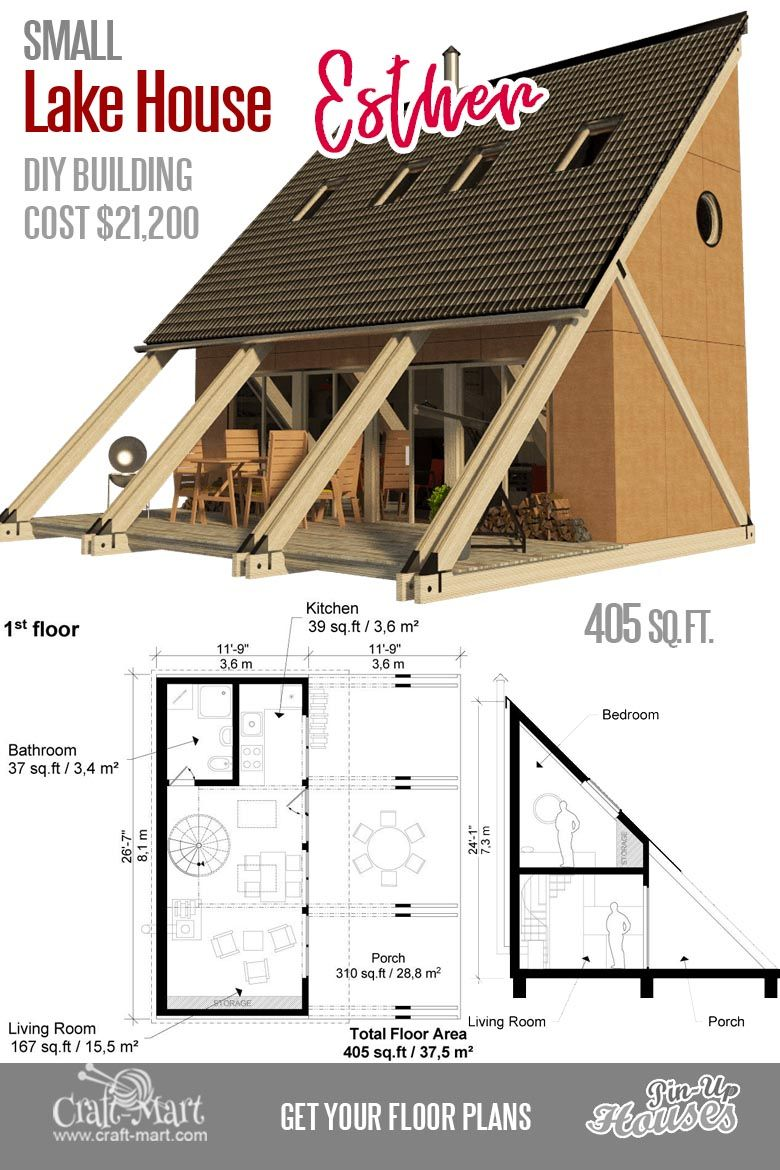 Cute Small Cabin Plans (A-Frame Tiny House Plans, Cottages, Containers) -  Craft-Mart | Small lake houses, Small cabin plans, Lake house plans