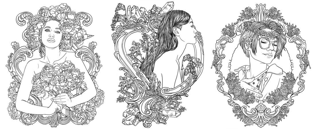 Bloom Bluebell Daisy Coloring Page Samples From The Efflorescence Coloring Book On Kickstarter There Are 40 Illustrati Coloring Books Color Coloring Pages