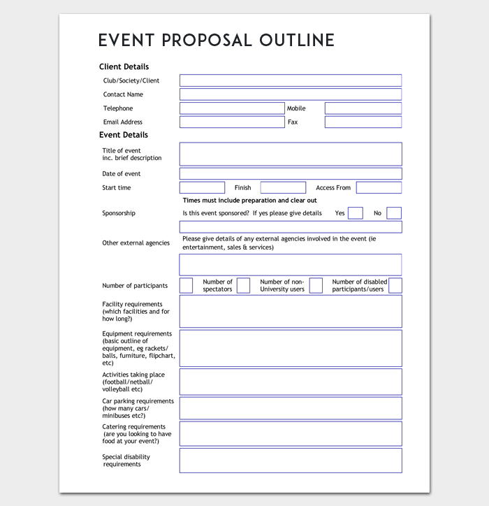 Event Proposal Outline Template Word Doc Event Proposal Event Proposal Template Event Planning Forms