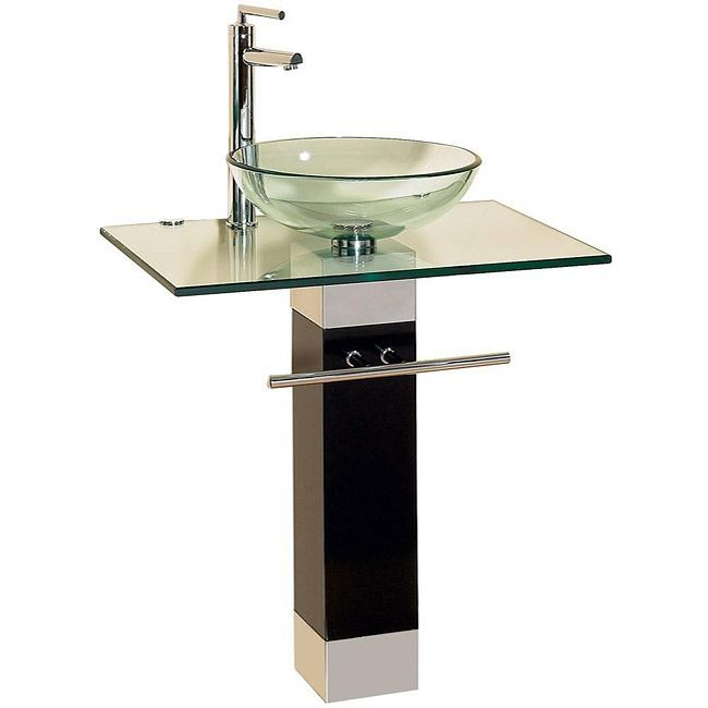 Create A Unique Modern Look In Your Bathroom By Installing This Pedestal Sink A Glass Vessel
