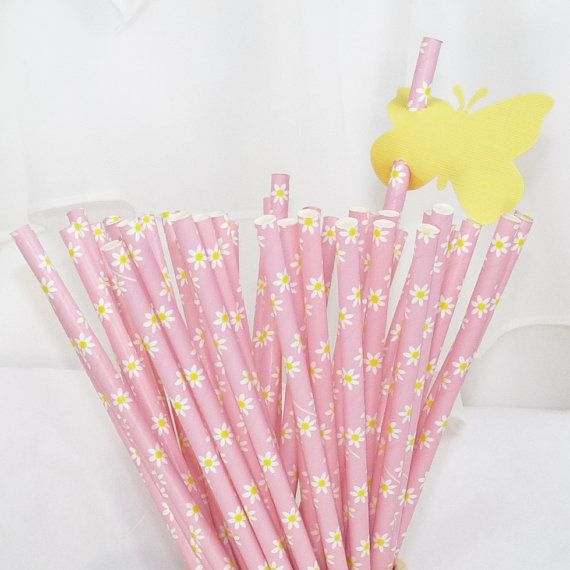 PINK+DAISY+25+Paper+Straws++Cake+PoP+Sticks+by+LolaLovesAparty