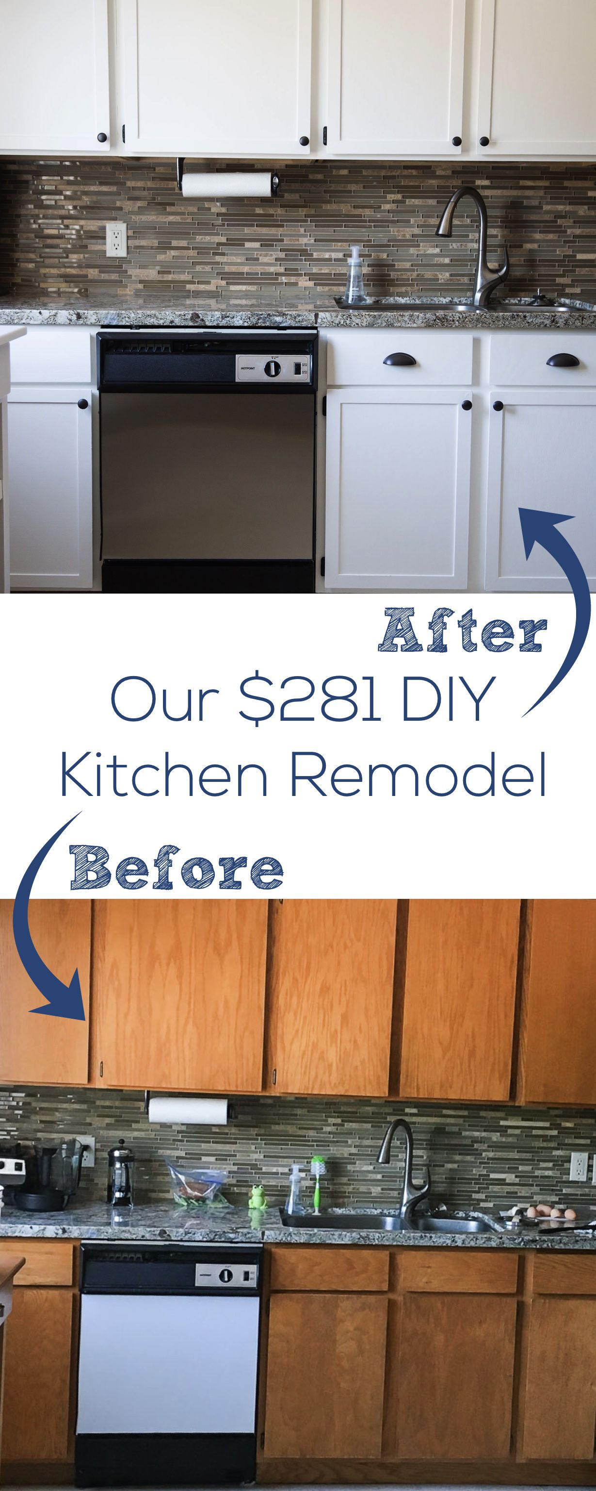 Our $281 DIY Kitchen Remodel - DIY painting oak cabinets white ...