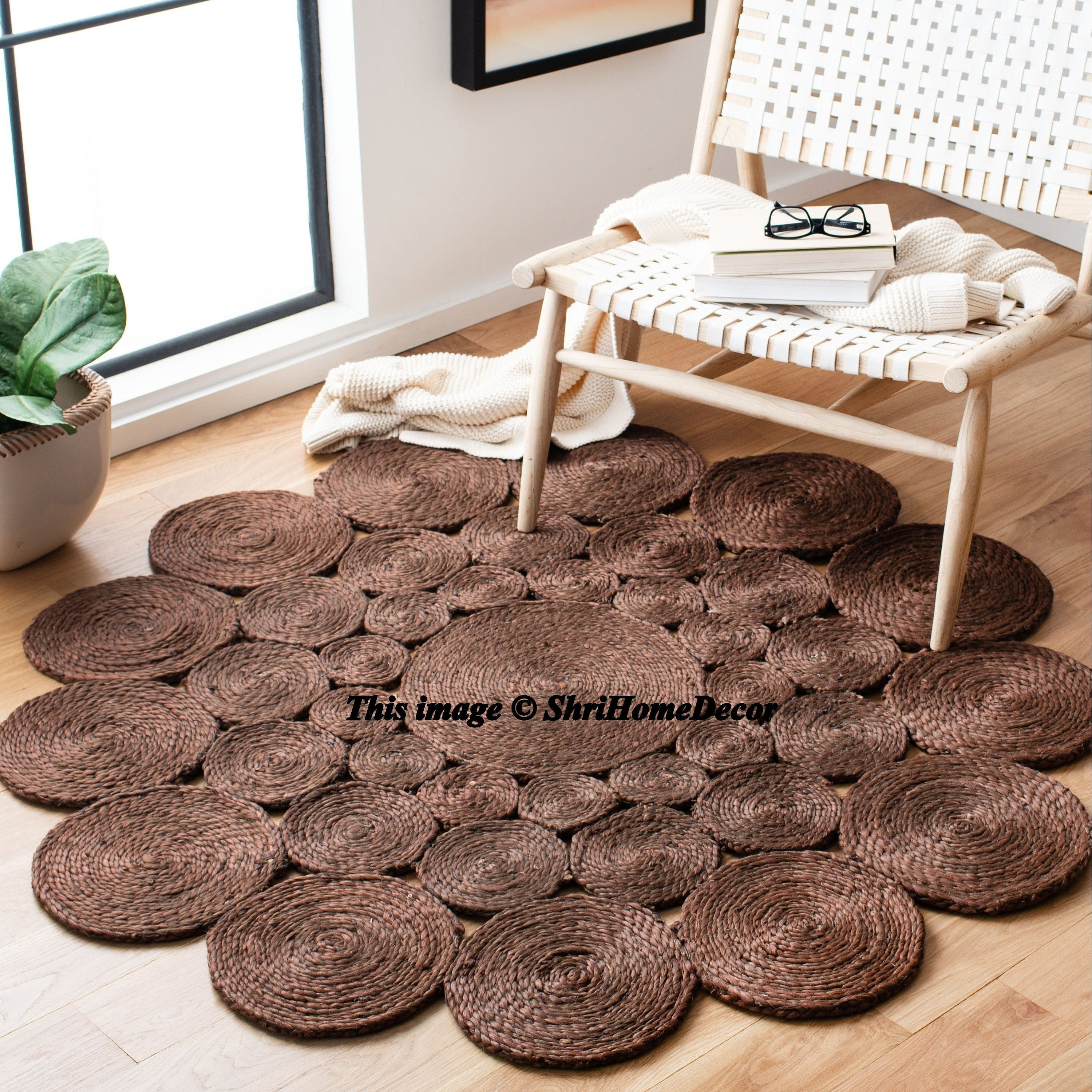 Hand Woven Braided Natural Jute Area Rugs for Home Decor Rugs availbale in Round Multiple Sizes Natural Color Floor Decor Bohemain Jute Rugs