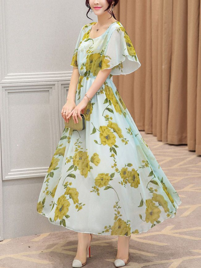 913a9bcabfaf Chic Round Neck Floral Printed Chiffon Maxi Dress en 2019 | dresses ...