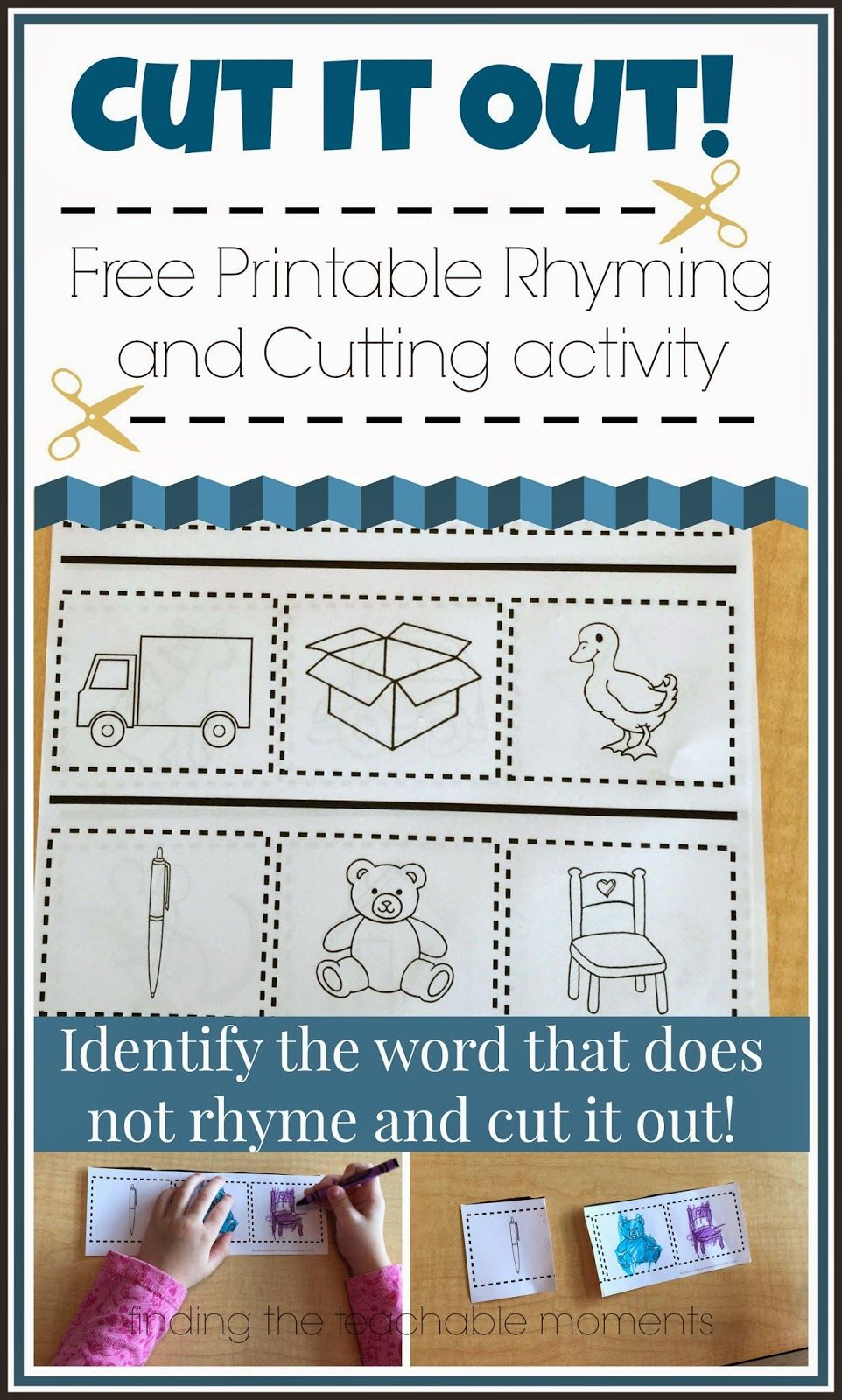 Cut It Out! --> Cut out the word that doesn\'t rhyme. Free Printable ...