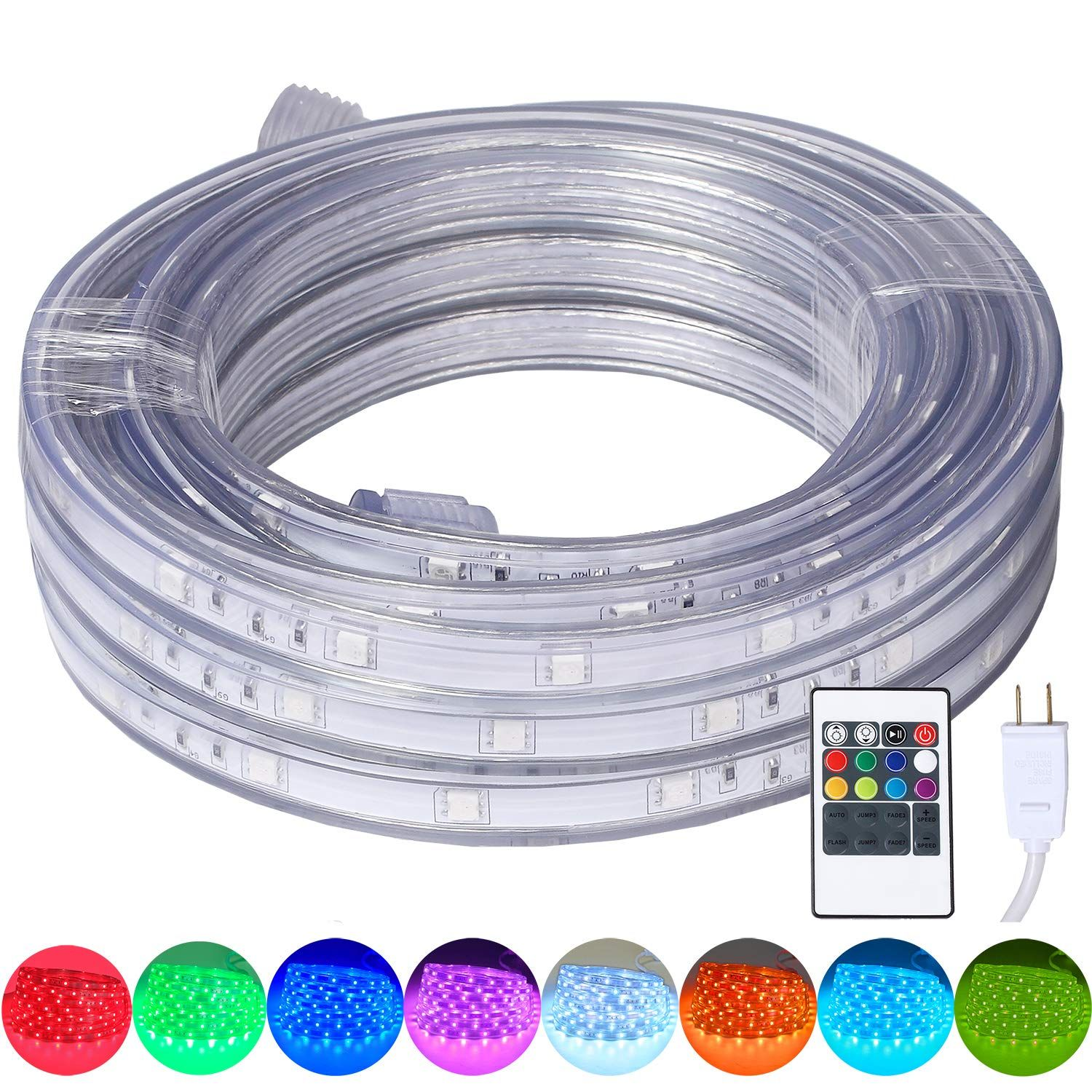 16 4 Feet Flat Flexible Led Rope Lights Color Changing Rgb Strip Light With Remote Control 8 Colors Multiple Mod In 2020 Led Rope Lights Novelty Lighting Rope Lights