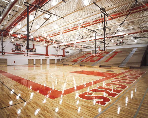Wausau East High School Gym Bright Colors Floating Wood Flooring Lights Basketball East High School Wausau High School