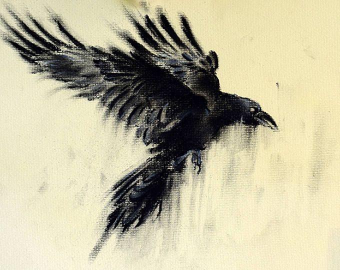 820b0db7afcfc Original Charcoal Drawing Crow Art Dark Gothic Large Drawing ...