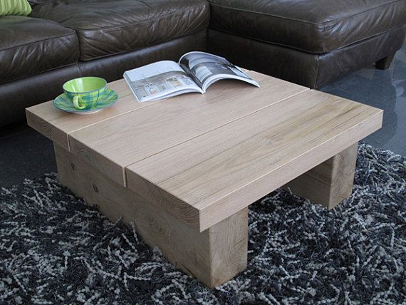 Light Solid Oak 3 Board Square Coffee Table Low Natural Oak Square