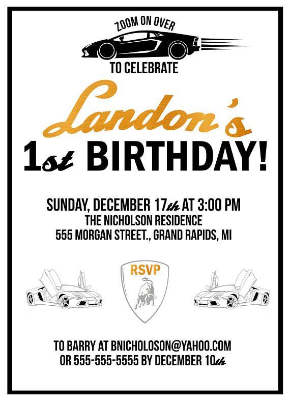 Gold And Black LAMBORGHINI PARTY Lamborghini Invitation 9th Birthday Parties High Chair Banner Party