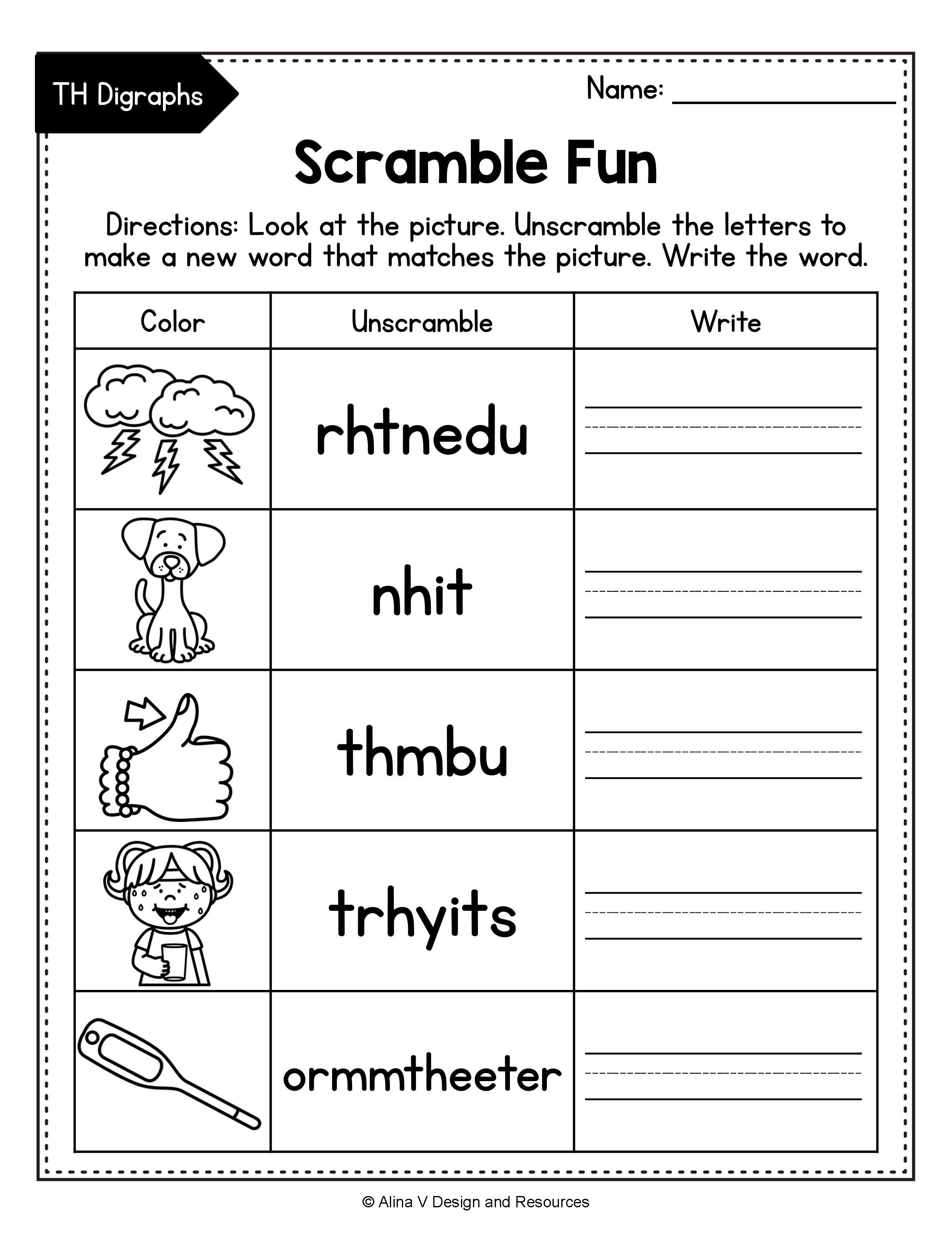 Consonant Digraphs Worksheets Sh Ch Th Wh Ph Kn Wr