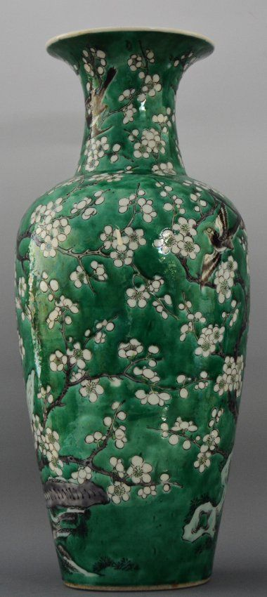 Chinese Large Green Glazed Vase Republic Period Painted With Trees