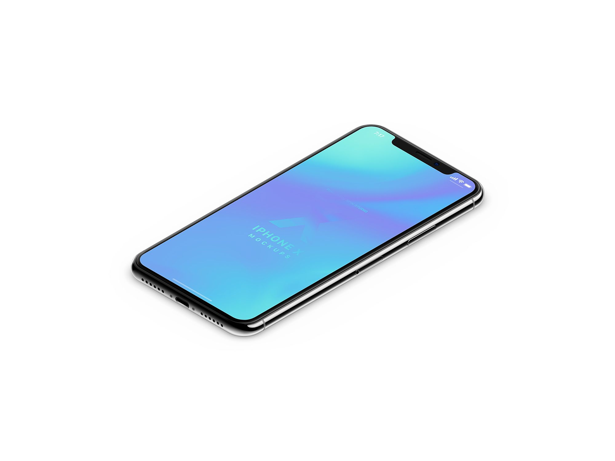 iPhone X Isometric Mockup Free + Clay Iphone, Mockup
