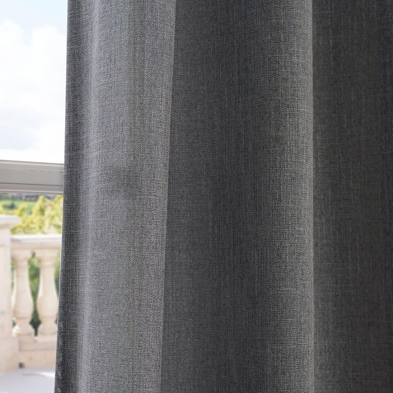 Window coverings of idaho  exclusive fabrics faux linen grommet top curtain panel  presidio