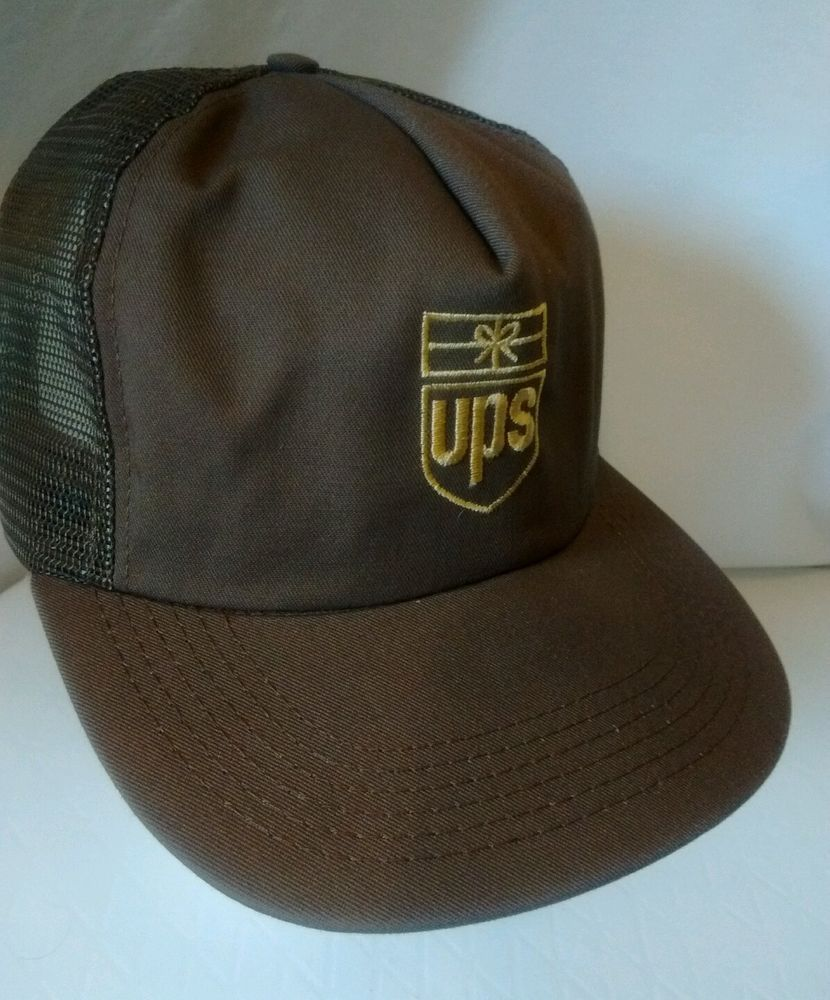 f905b1c2c96 UPS Trucker Hat Snapback Mesh Back Brown Made in USA United Parcel Service   AB  Cap  Any