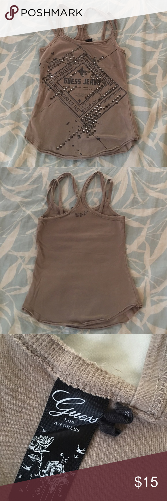 """Studded Guess Tank XS Tan studded Guess tank in great condition. Has a """"worn"""" look on straps. Super comfy material. Guess Tops Tank Tops"""