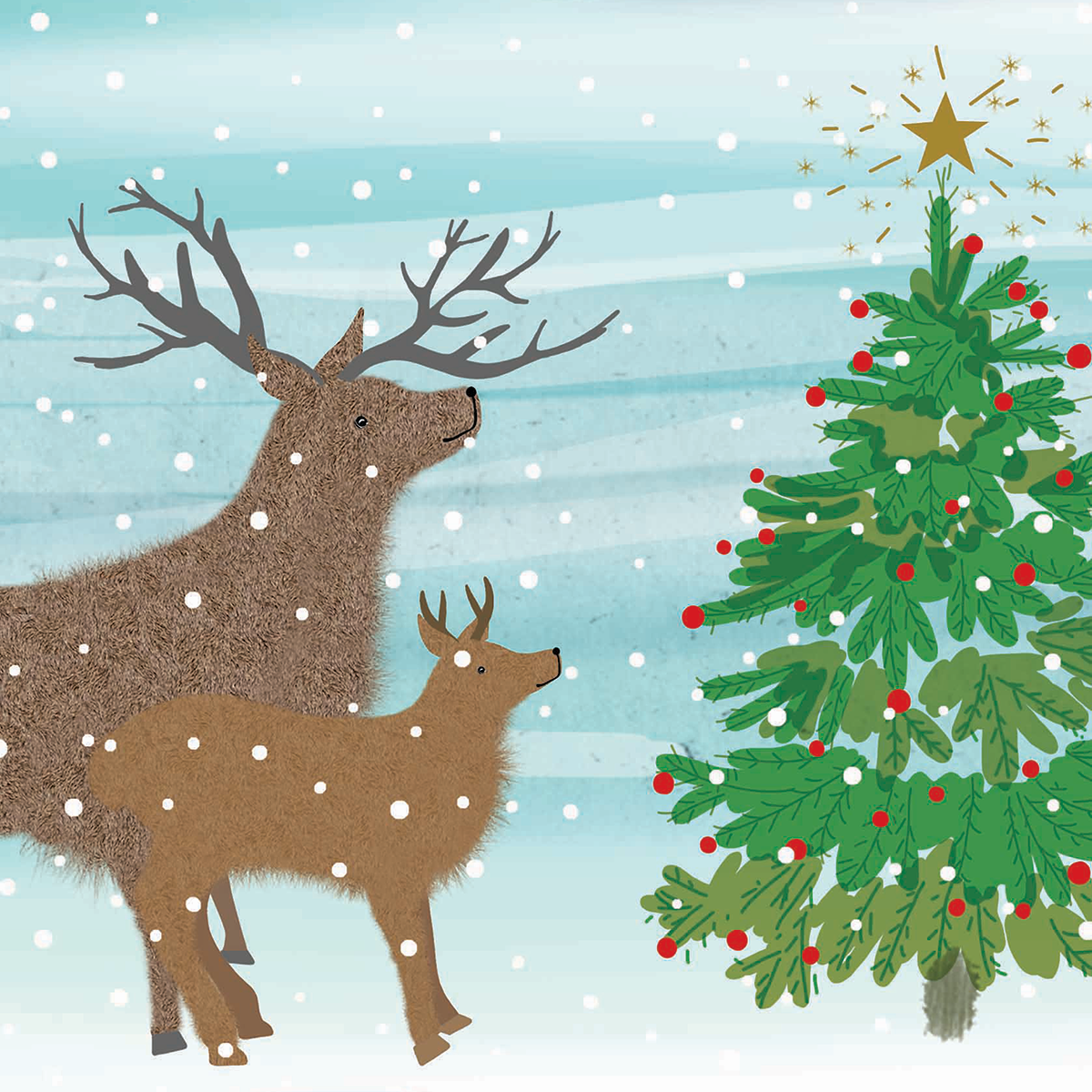 Pack of 10 140mm x 140mm WWF Lovely Christmas Tree Christmas cards ...