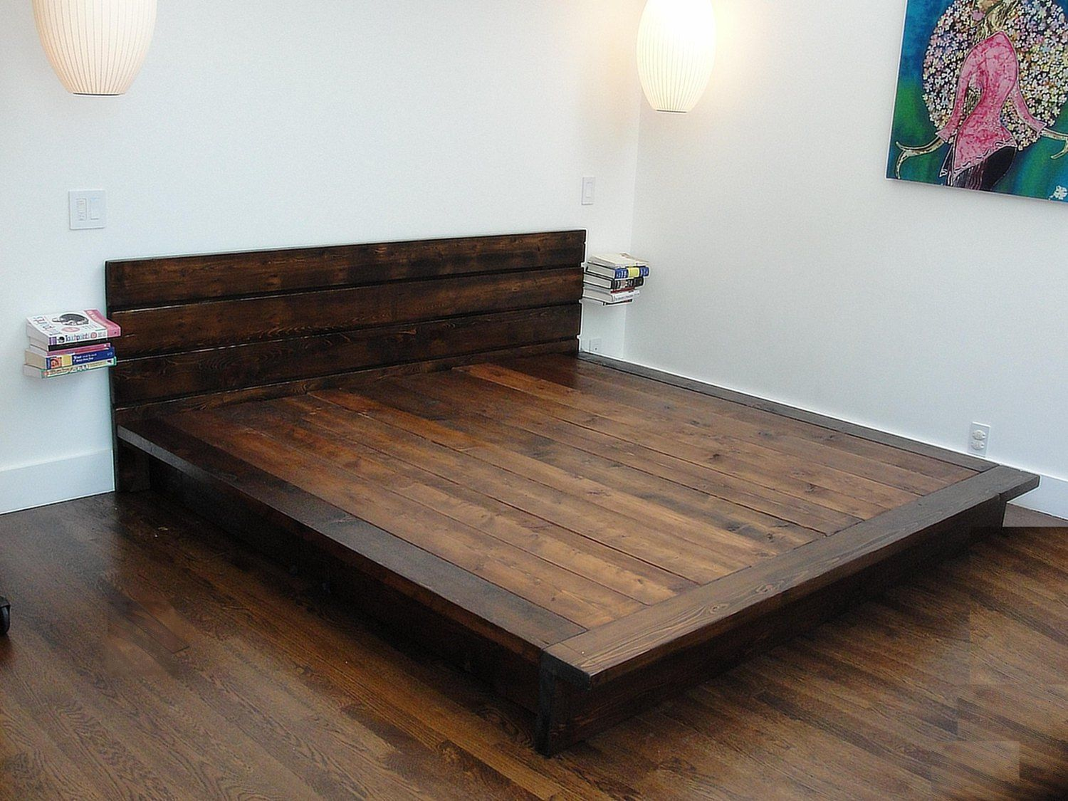Tempting Diy Solid Wood Flat California King Platform Bed Frame Together With Headboard Andtiny Floatin Rustic Platform Bed Platform Bed Plans Diy Platform Bed