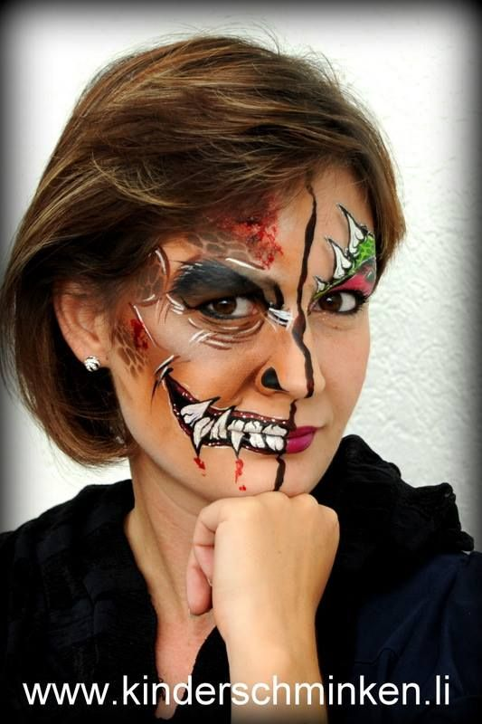 halloween design by kinderschminken demon zombie for women - Zombie Halloween Faces