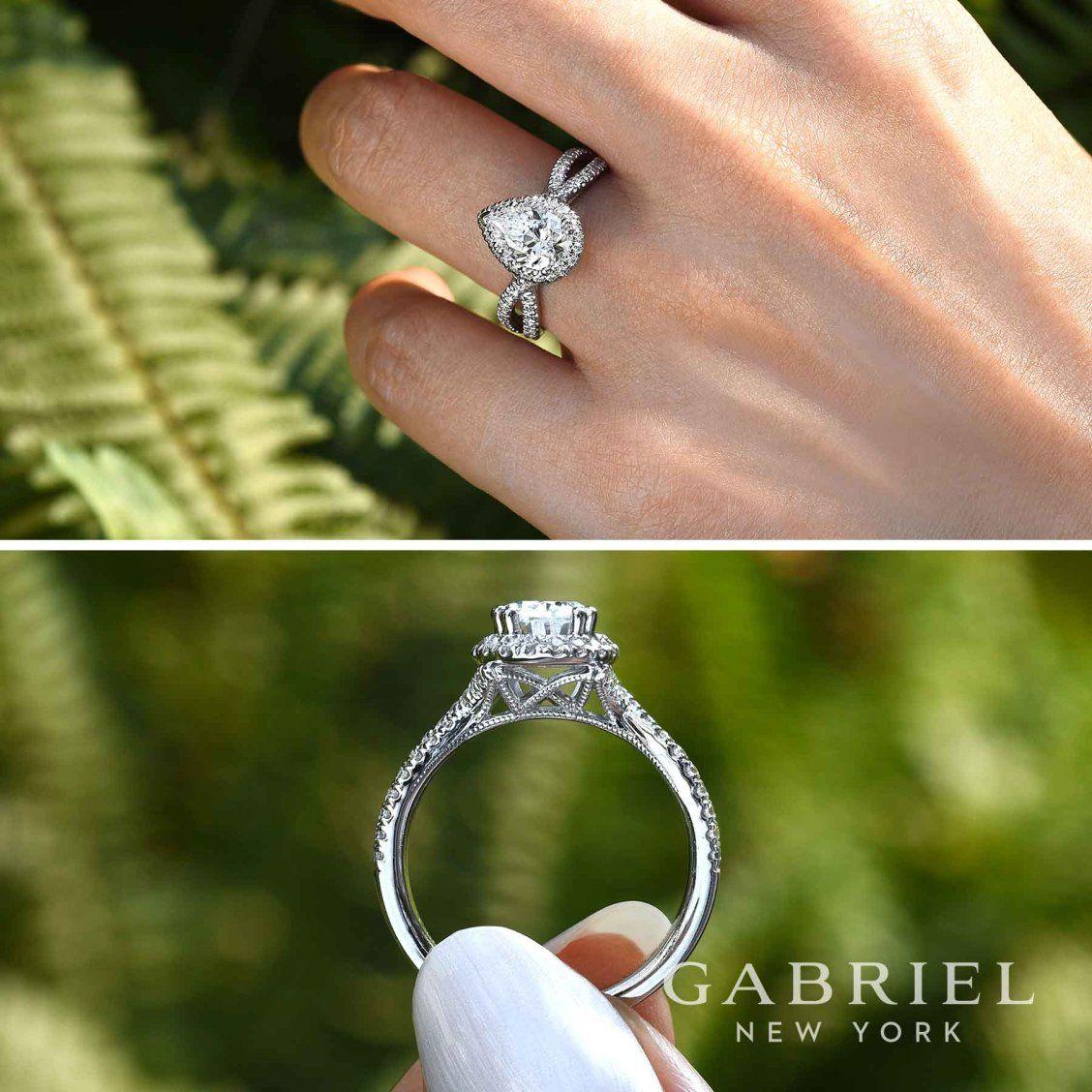 K white gold pear shape halo engagement ring rings pinterest