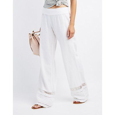 c00427da72 White Crochet-Trim Gauze Palazzo Pants - Size L | Products in 2019 ...