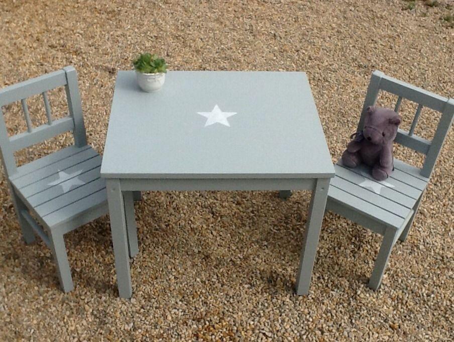 ensemble pour enfant table et 2 chaises en bois patin bleu gris avec toiles en 2019 table