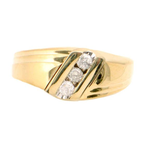 Men S 14k Gold Diamond Ring Vintage 3 Stone Ring In 14k Gold