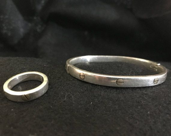 Vintage Taxco Sterling Silver and Brass Screw Bracelet and Ring
