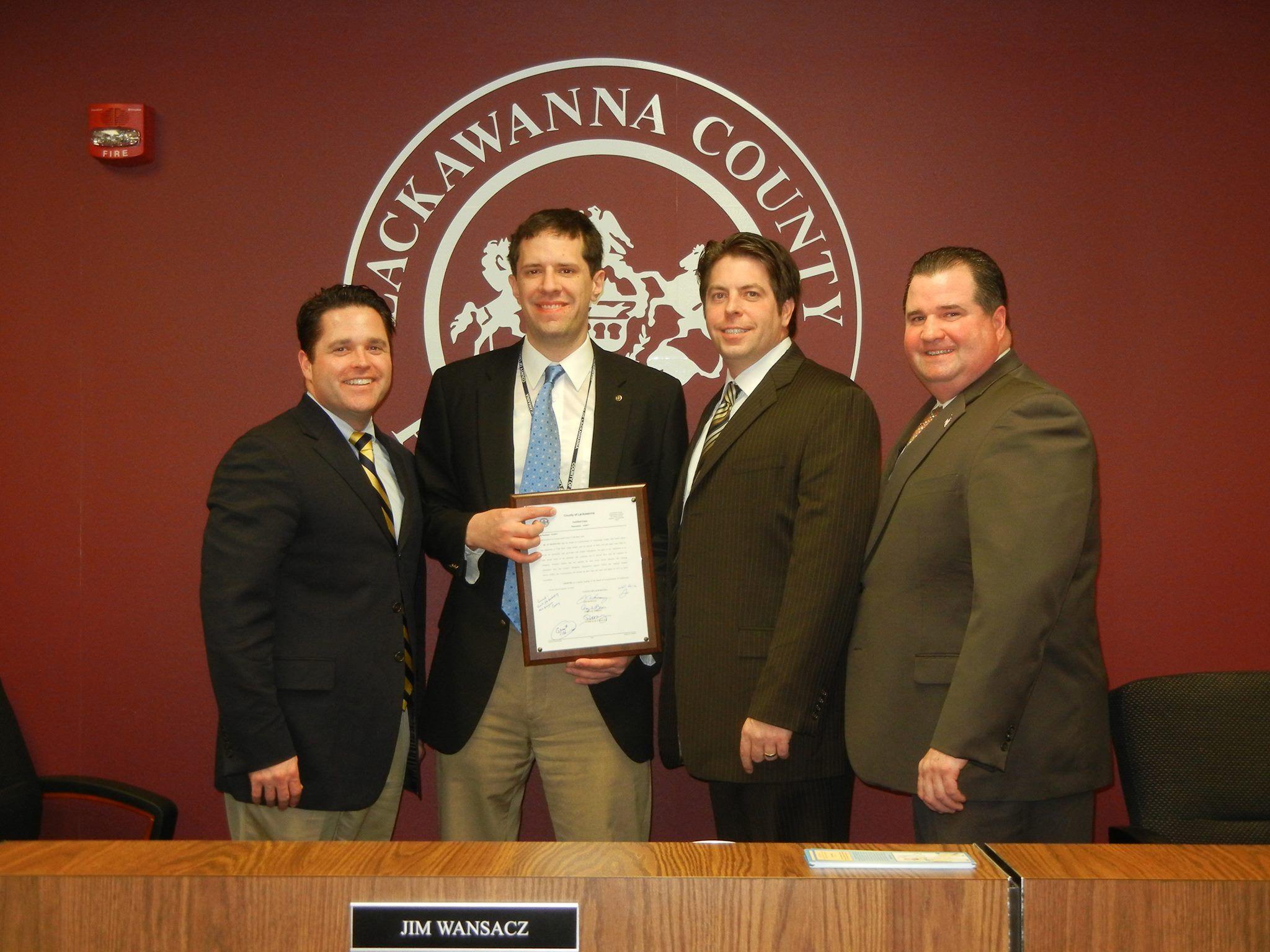 The Lackawanna County Commissioners present Gerard Hetman