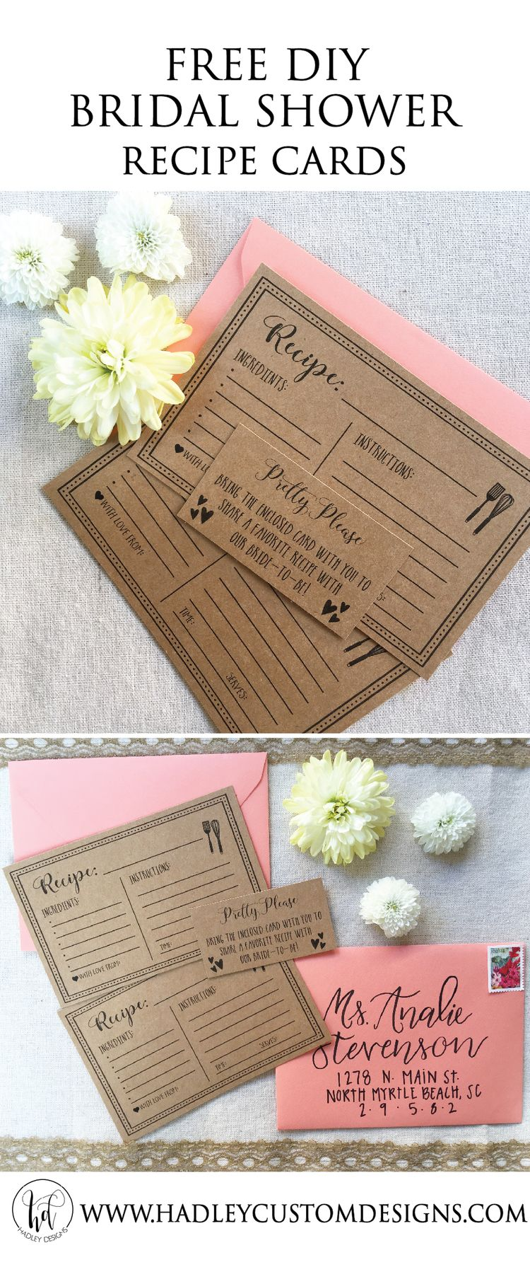 graphic regarding Free Printable Recipe Cards for Bridal Shower named Absolutely free Printable Recipe Playing cards Alyssa Bridal Shower Rustic