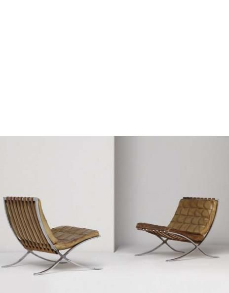Ludwig Mies Van Der Rohe   Pair Of Early U0027Barcelonau0027 Chairs, Model No