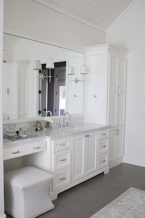 Master bathroom with Carrera marble countertops, Circa lighting sconces, and cus..., #Bathroom #carrera #CIRCA #Countertops #cus #Lighting #Marble #Master #sconces