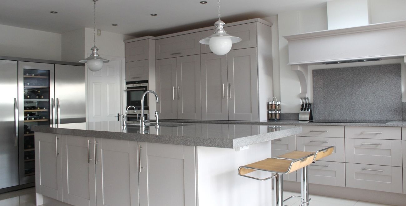 Grey granite worktop white units google search kitchen for Light grey kitchen units