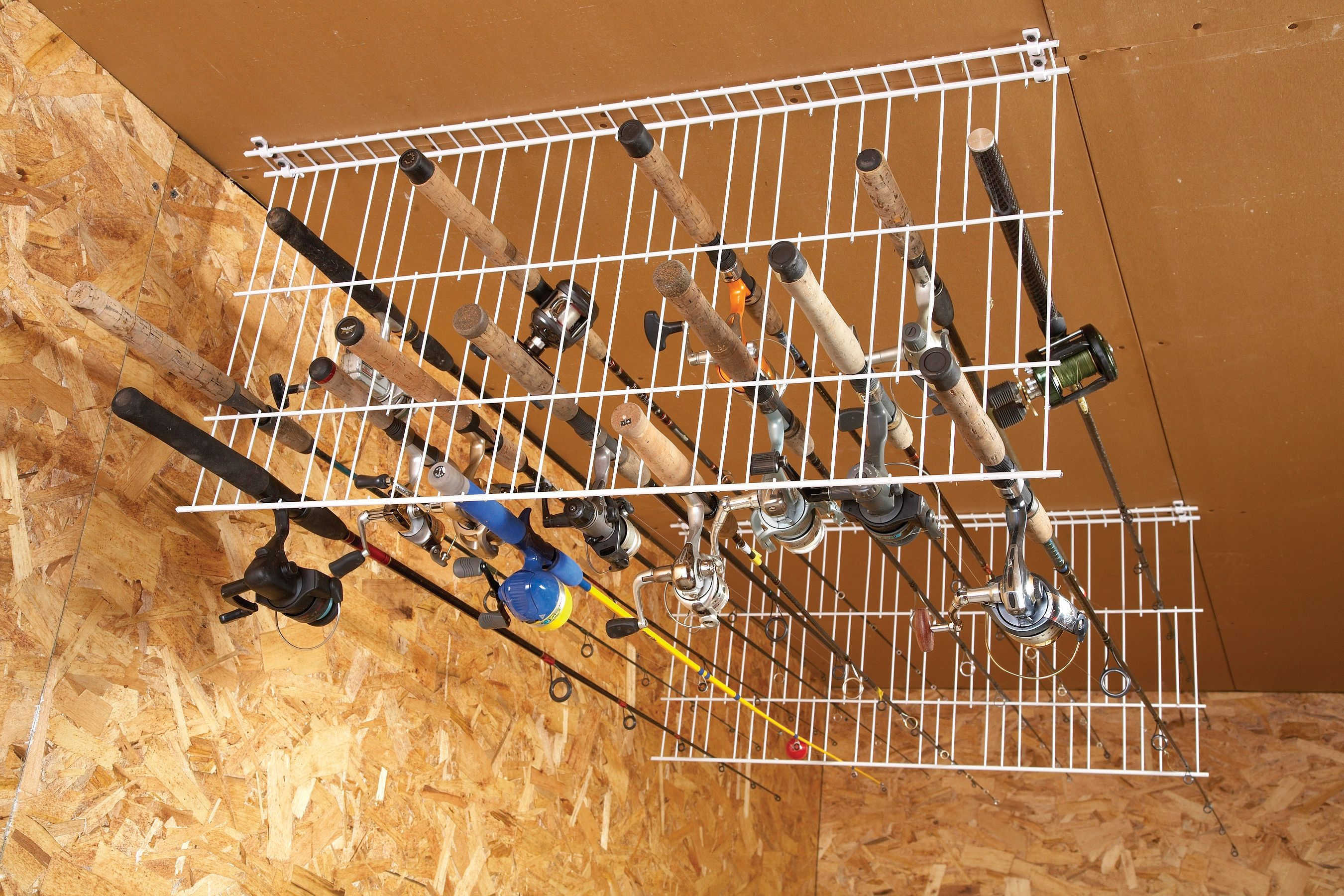Sneak peek ingenious garage storage ideas fishing rod for Homemade fishing rod storage ideas