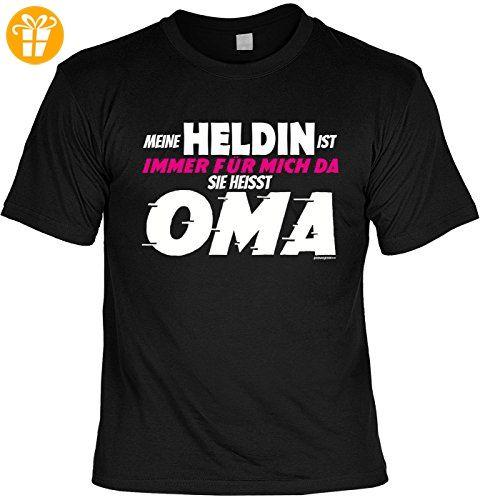 Oma Sprüche Tshirt - lustiges Funshirt Großmutter : Meine Heldin …. heisst Oma -- Geschenk Geburtstag Oma T-Shirt Gr: L (*Partner-Link)