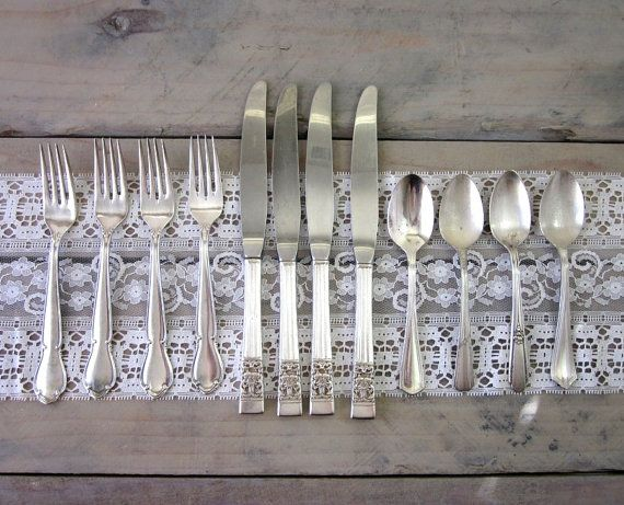 Barton Piece Sterling And Francis Setting 4 Reed Silver Flatware I