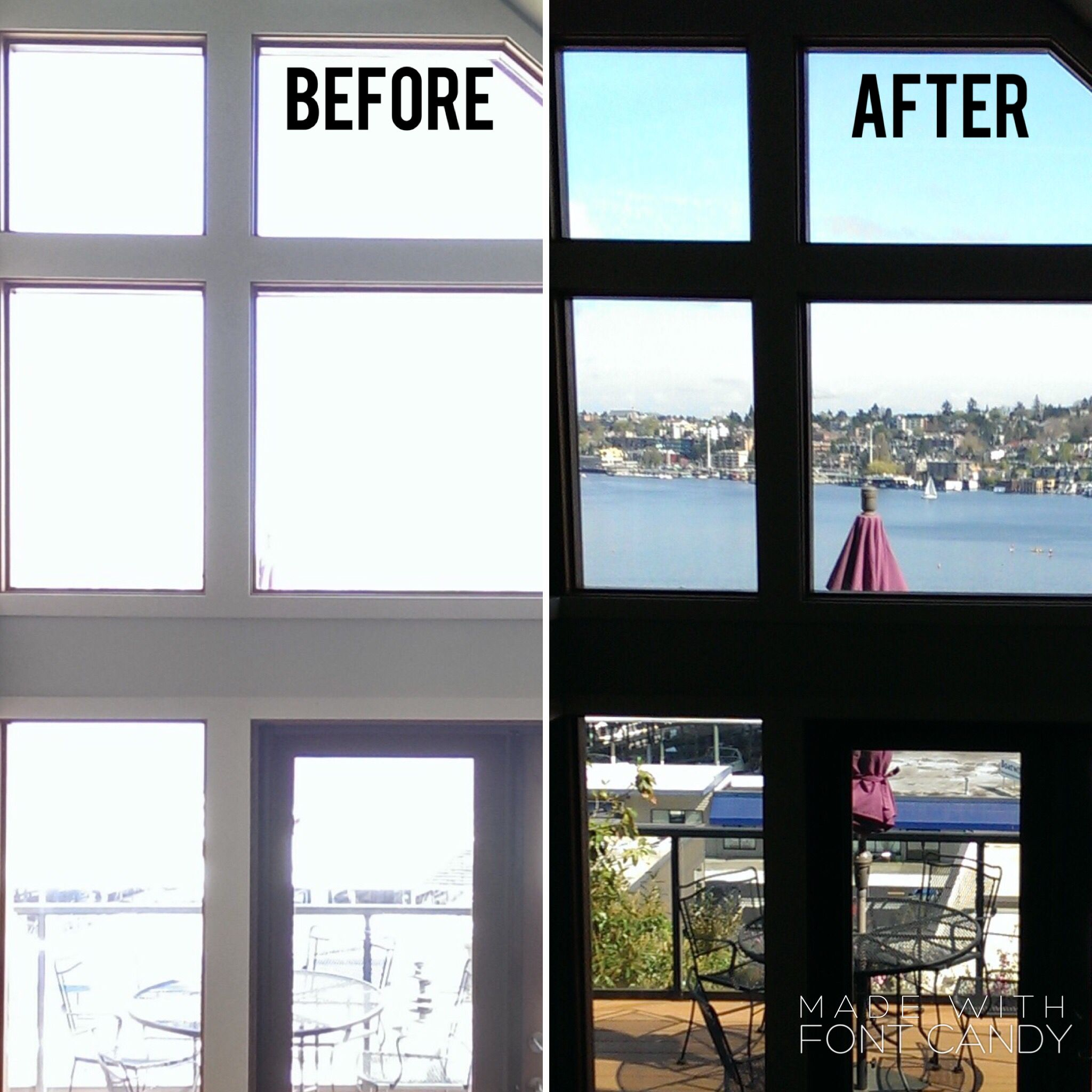 Before And After Window Film Installation Reduce Glare Heat Loss