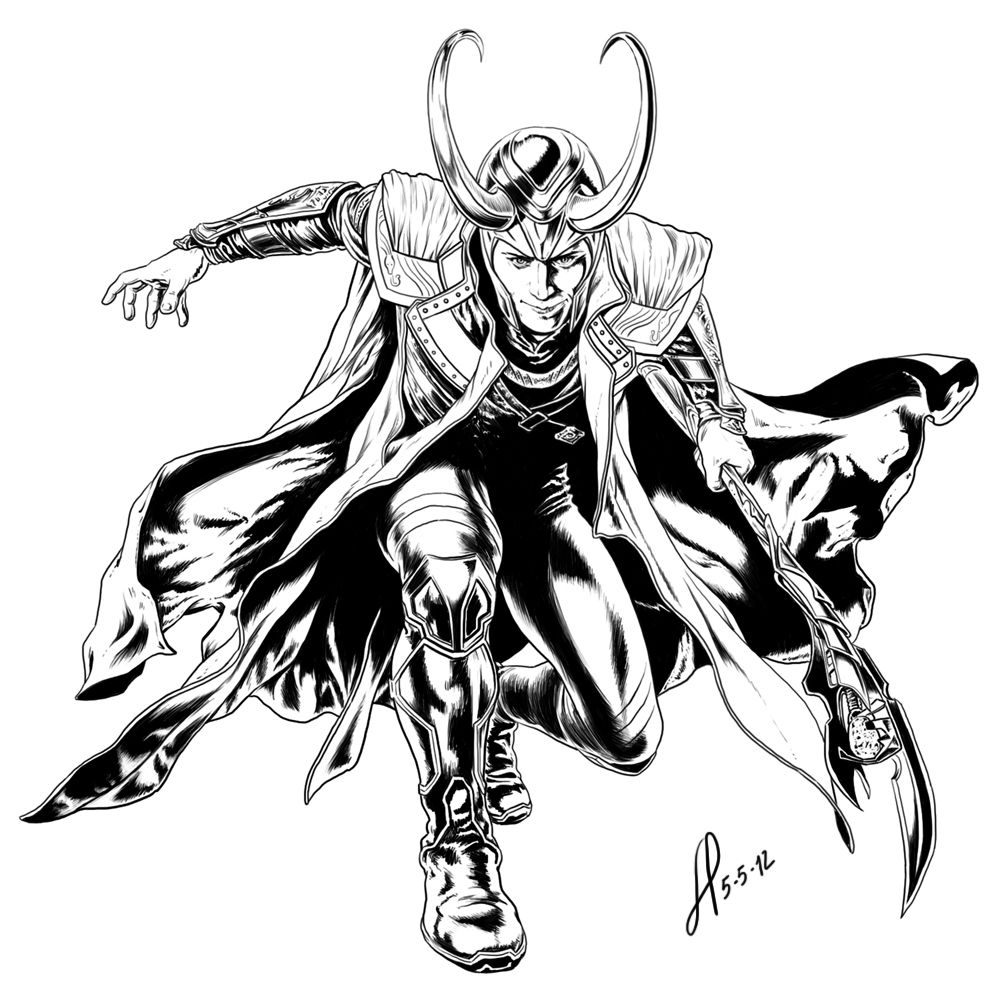 loki coloring page | how to draw : avengers ;page=1 (page 2 ...