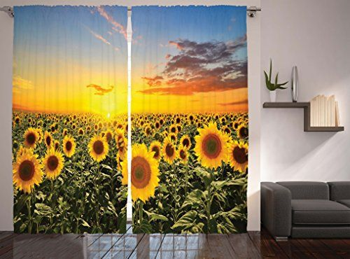 Mediterranean Home Decor Curtains by Ambesonne Sunflowers Field in