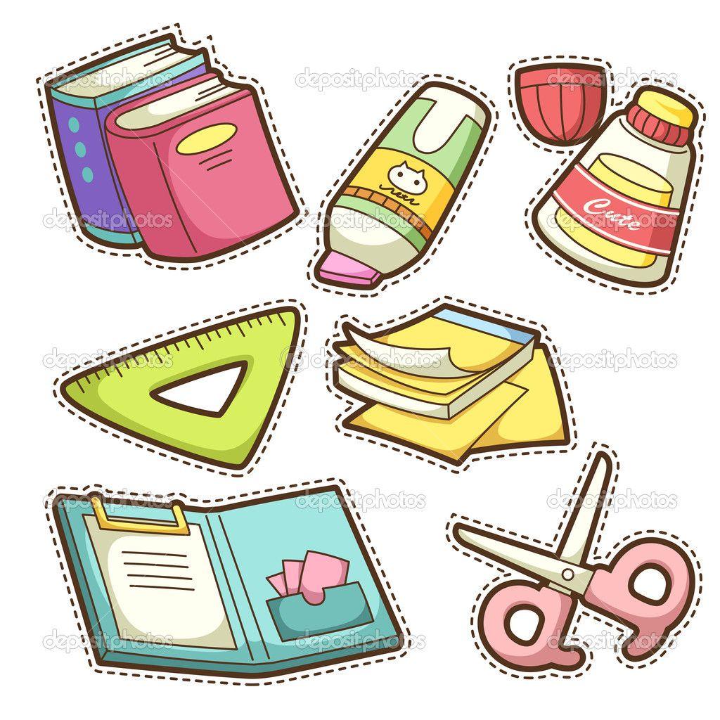 School items para recortar pinterest escolares for Material de oficina en ingles