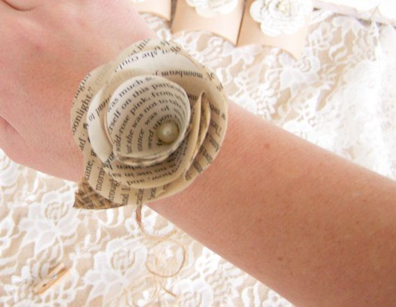 Book Page Wrist Corsage Book Page Flower Vintage by theepapergirl